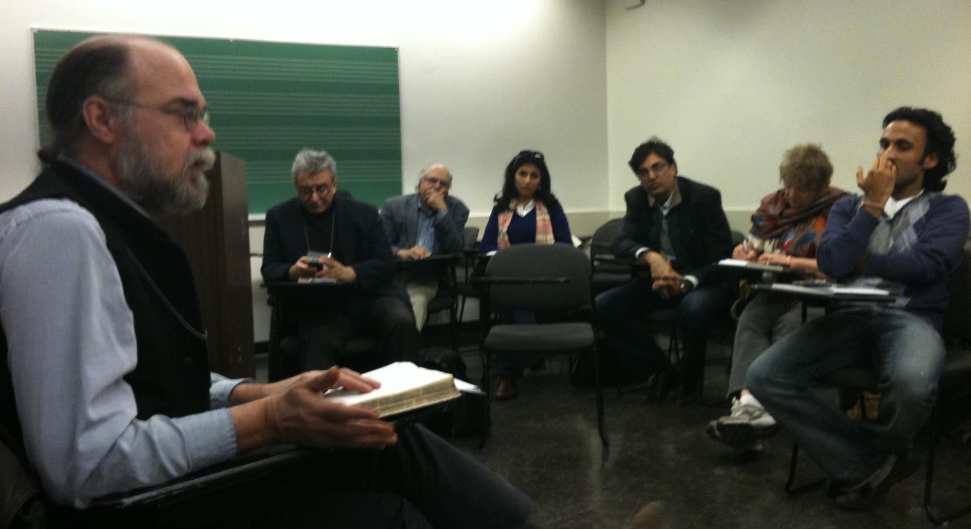 Andy Mc Cord responding to a quetion at the Faiz panel. Photo: Beena Sarwar