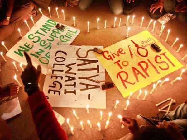 A candle light vigil was held in Delhi protesting against the Delhi Rape case