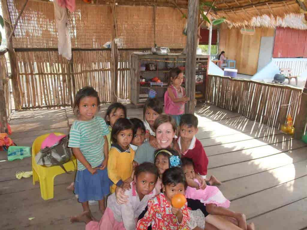 Sigrid with children in Cambodia.