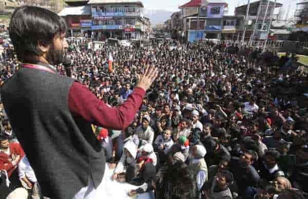 Chairman of Jammu Kashmir Liberation Front, Yasin Malik, in an election boycott in Kashmir.