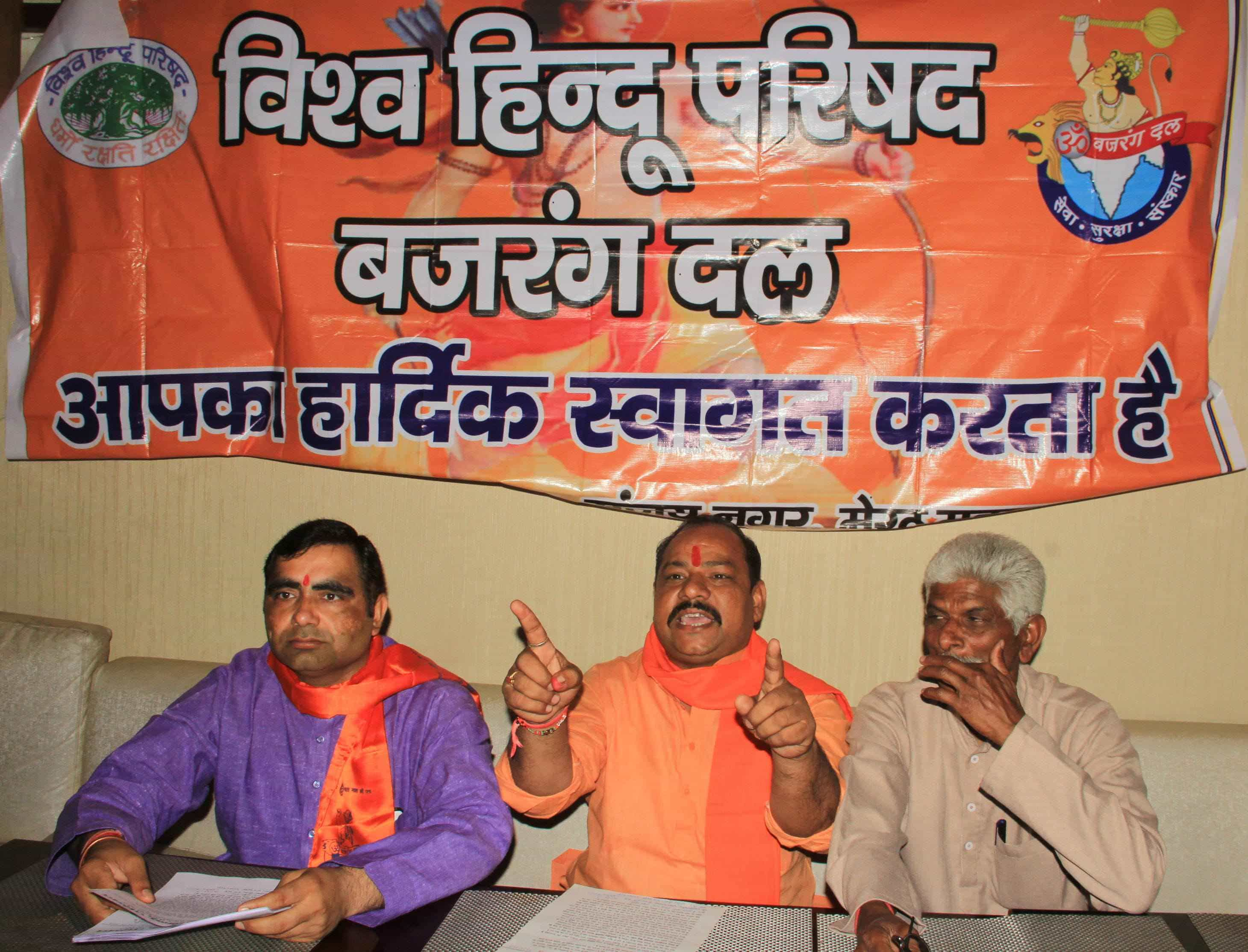 Balraj Dungar (centre) along with other members speaking to media.