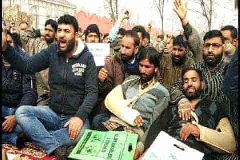 phe employees stage protest against army, kashmir, hajin,