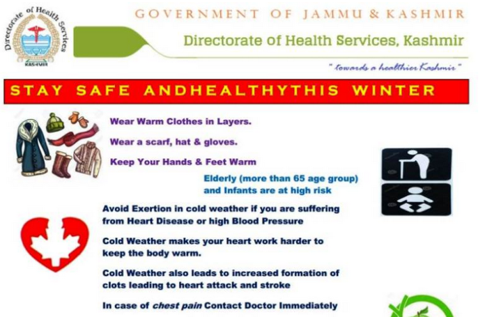 health advisory, kashmir, cold wave in kashmir, winter in kashmir, weather in kashmir